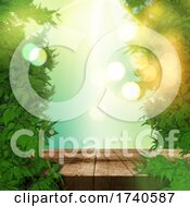 3D Leaves And Wooden Table Display Background