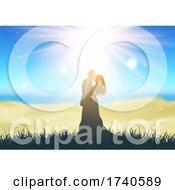 Poster, Art Print Of Bride And Groom Against Defocussed Beach Landscape