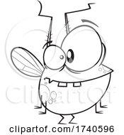 Cartoon Black And White Chubby Fly