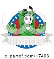 Clipart Picture Of A Dollar Bill Mascot Cartoon Character On An American Label With A Blank White Banner