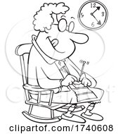 Cartoon Black And White Granny Knitting In A Rocking Chair