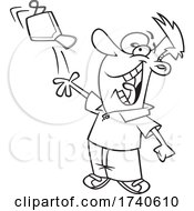 Cartoon Black And White Man Tossing A Mask