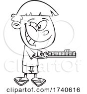 Cartoon Black And White Boy Playing Scrabble
