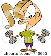 Cartoon Girl Working Out With Weights