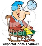 Cartoon Granny Knitting In A Rocking Chair