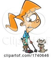 Cartoon Girl Cleaning Up Dog Poop