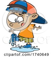Cartoon Boy Playing In A Spring Puddle by toonaday