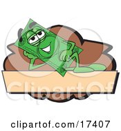 Clipart Picture Of A Dollar Bill Mascot Cartoon Character Reclining On A Blank Tan And Brown Label by Toons4Biz