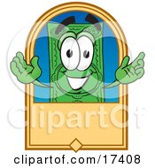 Clipart Picture Of A Dollar Bill Mascot Cartoon Character On A Blank Tan Label