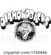 Poster, Art Print Of Snake School Or Sports Team Masoct Head With Diamondbacks Text