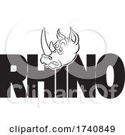 Poster, Art Print Of Rhino School Or Sports Team Masoct Head Over Text