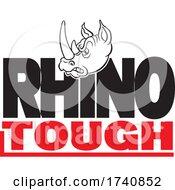Poster, Art Print Of School Or Sports Team Masoct Head Over Rhino Tough Text