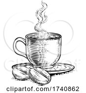 04/03/2021 - Coffee Beans And Cup Vintage Woodcut Illustration