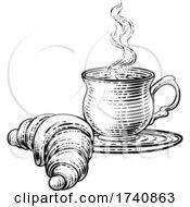 04/03/2021 - Croissant And Coffee Tea Cup Mug Woodcut