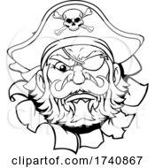 04/03/2021 - Pirate Captain Cartoon Mascot Tearing Background