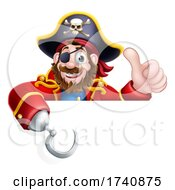 Pirate Captain Cartoon Over Sign Background