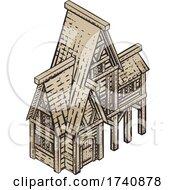 04/03/2021 - Medieval Building Map Icon Vintage Illustration