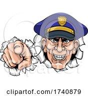 Policeman Mean Police Officer Ponting Cartoon