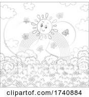 Poster, Art Print Of Happy Sun And Butterflies With A Rainbow