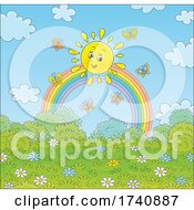 Happy Sun And Butterflies With A Rainbow