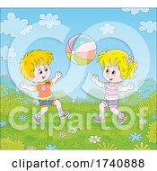 Poster, Art Print Of Kids Playing With A Ball