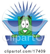 Clipart Picture Of A Dollar Bill Mascot Cartoon Character On A Blank Blue Label With A Burst