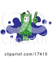 Clipart Picture Of A Dollar Bill Mascot Cartoon Character Pointing Upwards And Standing In Front Of A Blue Paint Splatter On A Business Logo