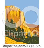 The Sandstone Bluff Of El Morro National Monument In Cibola County New Mexico WPA Poster Art