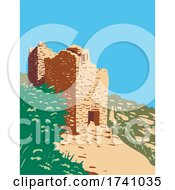 Twin Towers Part Of The Square Tower Group In Hovenweep National Monument Located On Land In Colorado And Utah WPA Poster Art by patrimonio
