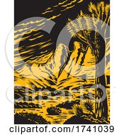 Joshua Tree In The Remote And Rugged Desert Landscape Of Gold Butte National Monument In Clark County Nevada Woodcut WPA Poster Art by patrimonio