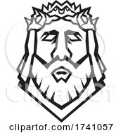 Head Of Jesus Christ The Redeemer Wearing Crown Of Thorns Viewed From Front Retro Woodcut Black And White Style by patrimonio