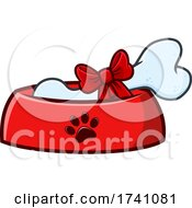 Dog Bone With A Gift Bow In A Bowl