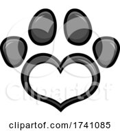 Grayscale Heart Shaped Paw Print
