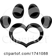 Black Heart Shaped Paw Print