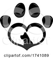 Heart Shaped Paw Print With A Dog Inside