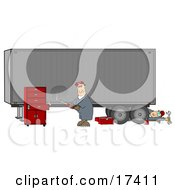 Two Male Mechanics Working On A Tractor Trailer One Fixing A Dent In The Side Of A Semi While The Other Man Rolls Out From Underneath Clipart Illustration by djart
