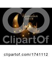 Elegant Ramadan Kareem Background With Gold Lights And Stars