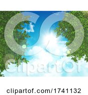 3D Nature Background With Green Leaves On A Sunny Blue Sky
