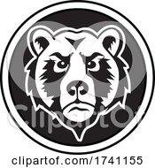 Black And White Bear Mascot Head In A Circle