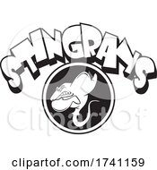 Black And White Stingrays School Mascot With Text