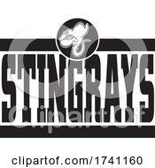 Black And White Stingrays School Mascot Over Text