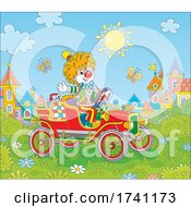Poster, Art Print Of Clown Driving An Antique Car