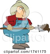 Cartoon Chubby Male Farmer Shoveling Manure