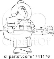 Cartoon Black And White Chubby Male Farmer Shoveling Manure
