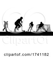 Ice Hockey Players Silhouette Match Game Scene
