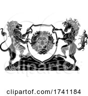 Poster, Art Print Of Coat Of Arms Horse Lions Crest Shield Family Seal