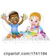 Cartoon Boy And Girl Painting