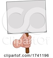 Hand Fist Holding A Blank Sign Or Placard Cartoon