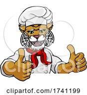 Wildcat Chef Mascot Sign Cartoon Character by AtStockIllustration