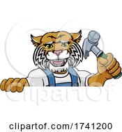 Wildcat Carpenter Handyman Builder Holding Hammer